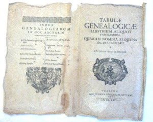 This is the cover wrap for Genealogy charts from 1668. L. side is the list of families charted.